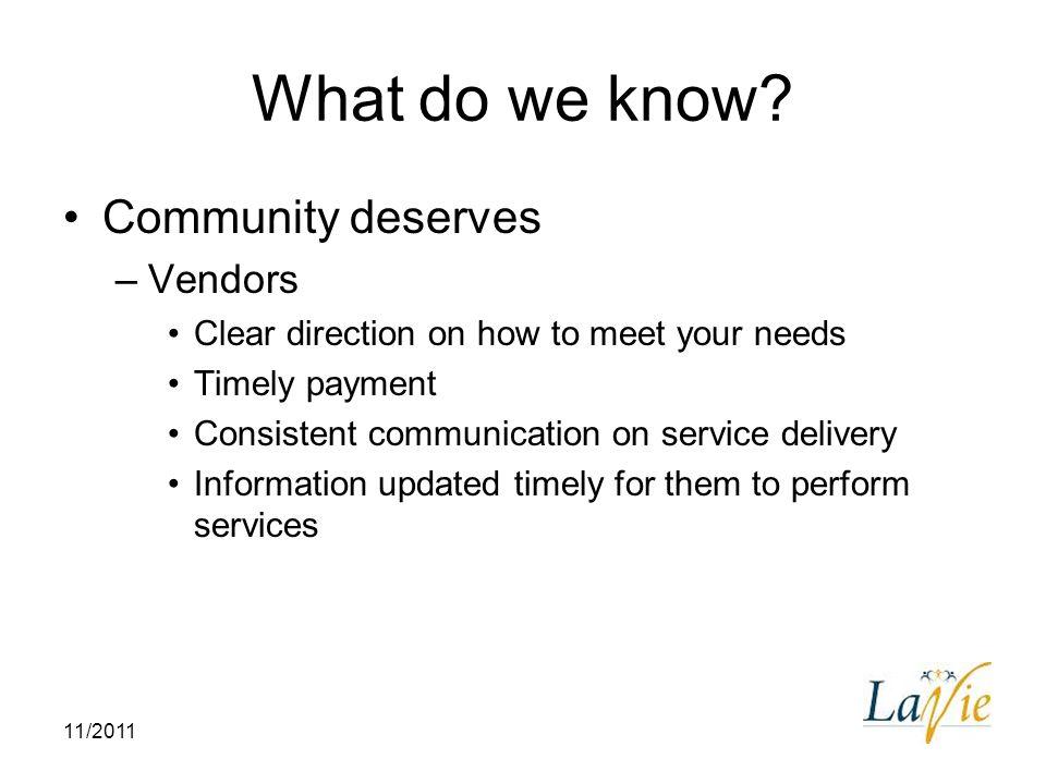 What do we know Community deserves Vendors