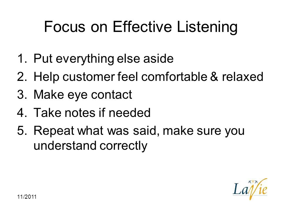 Focus on Effective Listening