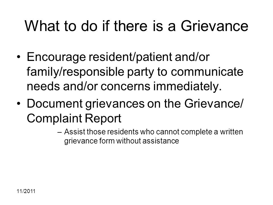 What to do if there is a Grievance