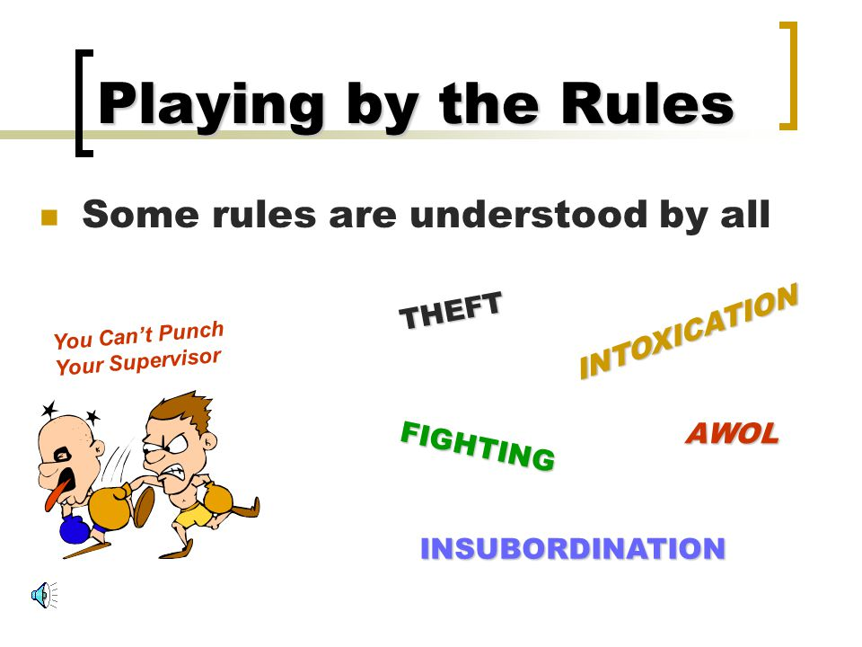 Playing by the Rules Some rules are understood by all THEFT