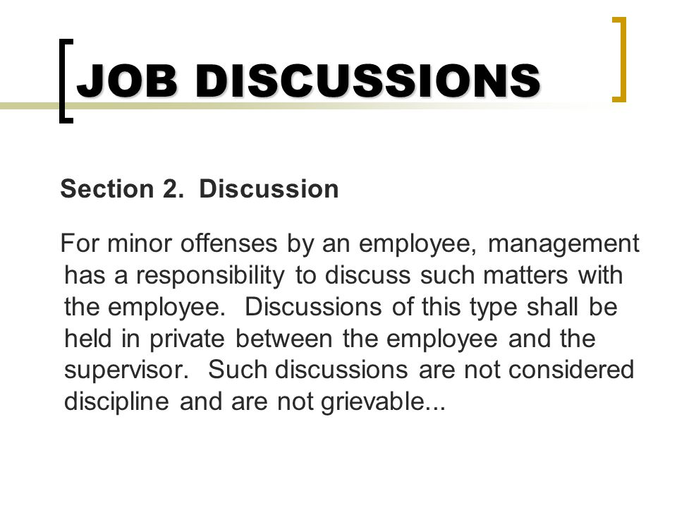 JOB DISCUSSIONS Section 2. Discussion