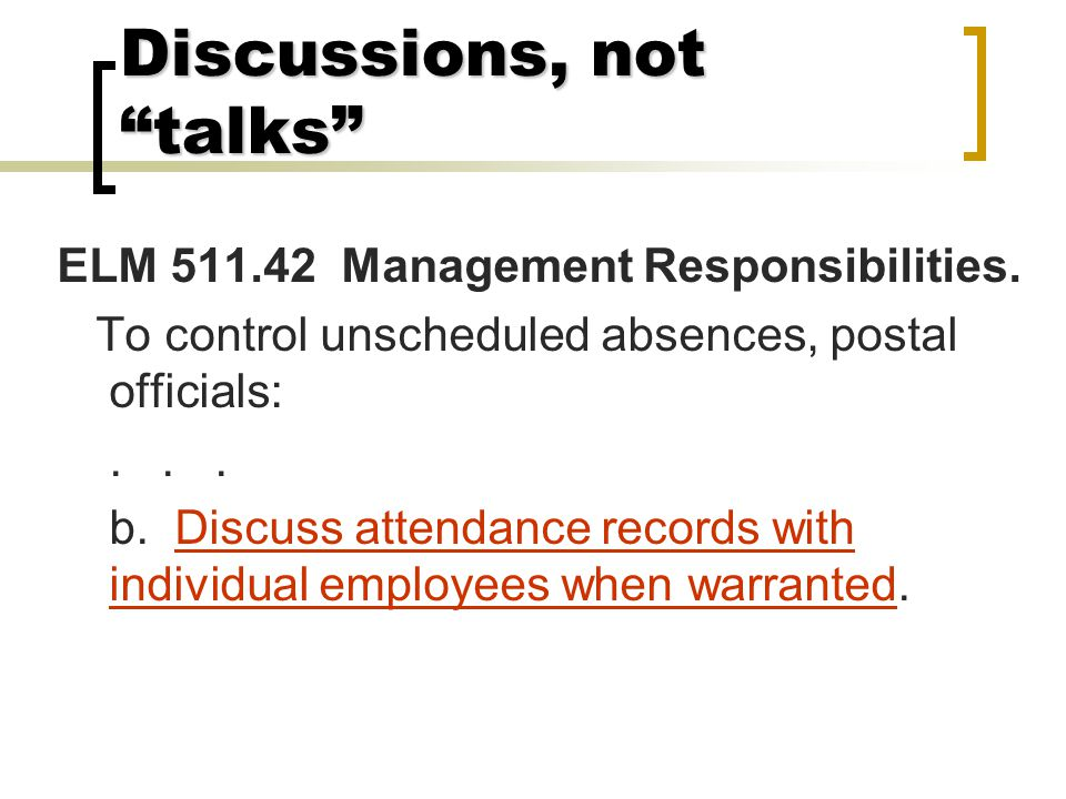 Discussions, not talks