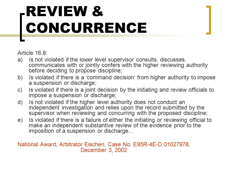 REVIEW & CONCURRENCE Article 16.8:
