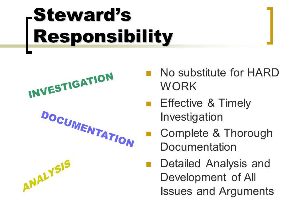 Steward's Responsibility
