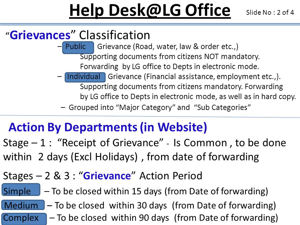 Help Desk@LG Office Action By Departments (in Website)