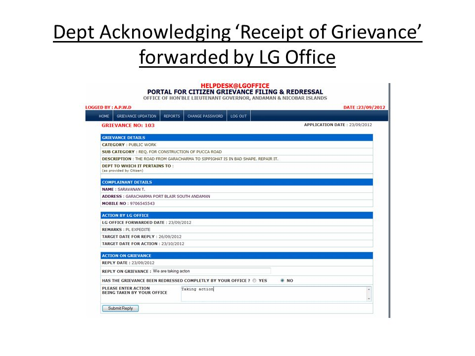 Dept Acknowledging 'Receipt of Grievance' forwarded by LG Office