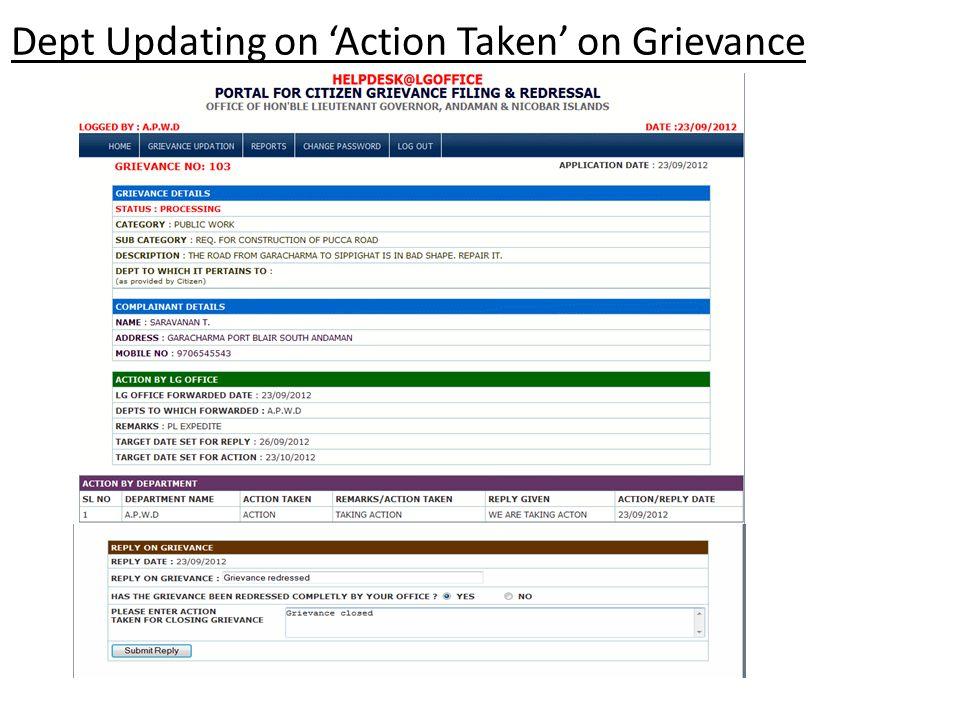 Dept Updating on 'Action Taken' on Grievance
