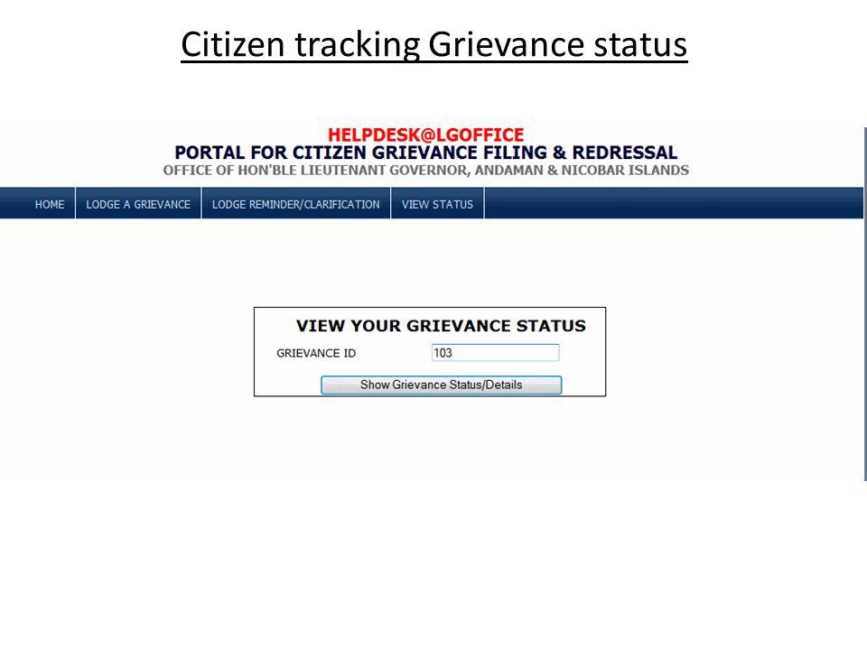 Citizen tracking Grievance status