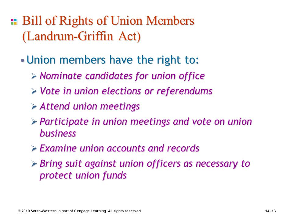 Bill of Rights of Union Members (Landrum-Griffin Act)