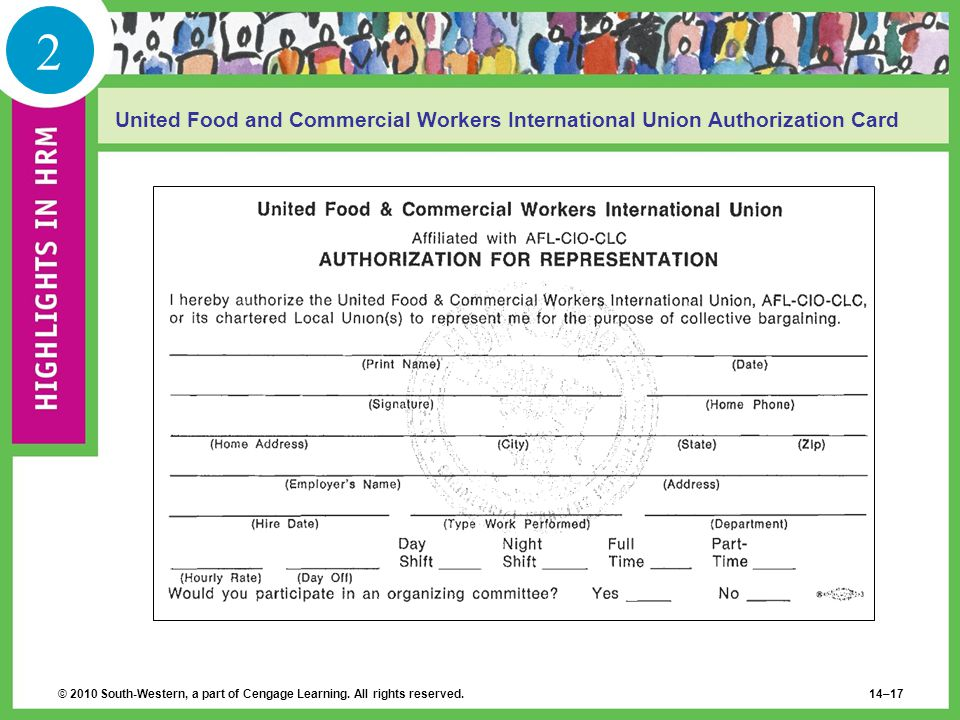 2 United Food and Commercial Workers International Union Authorization Card.