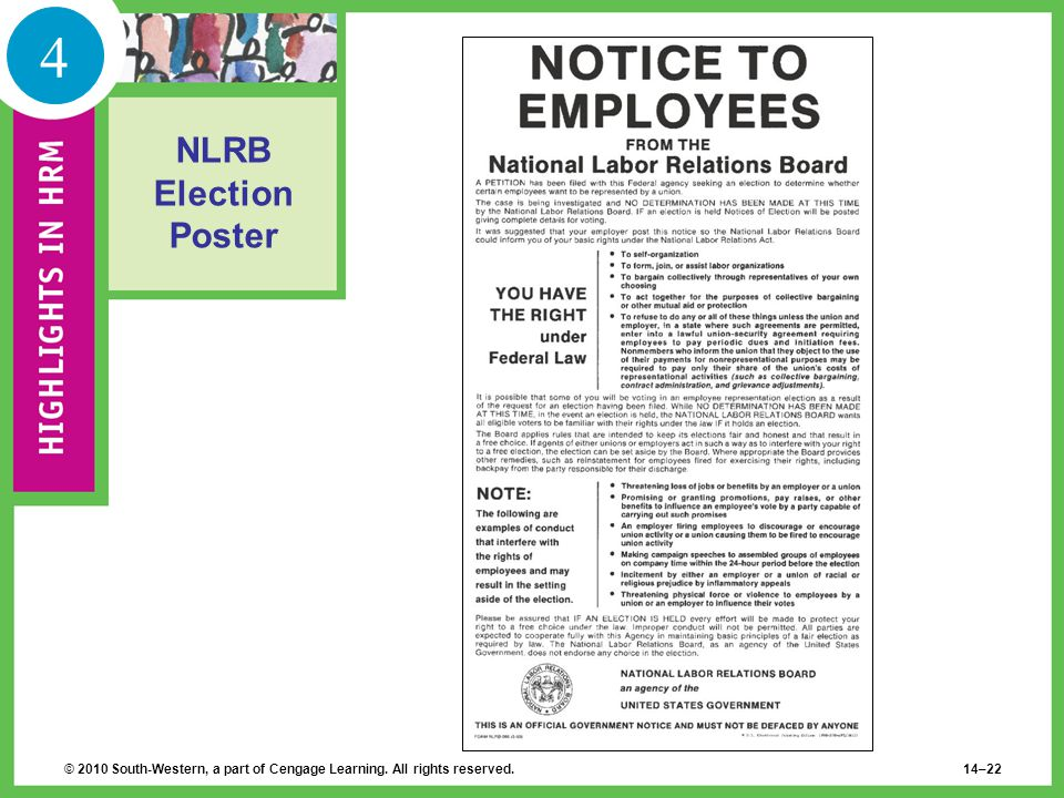 4 NLRB Election Poster © 2010 South-Western, a part of Cengage Learning. All rights reserved.