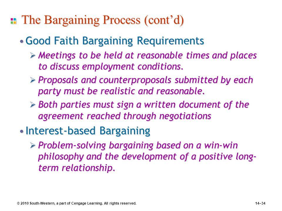 The Bargaining Process (cont'd)