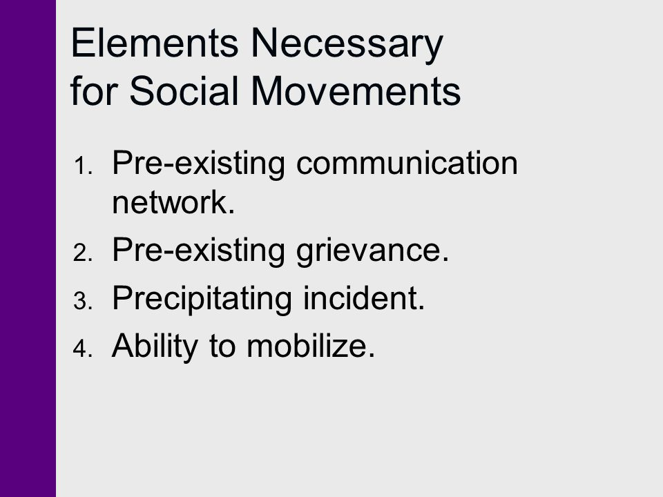 Elements Necessary for Social Movements