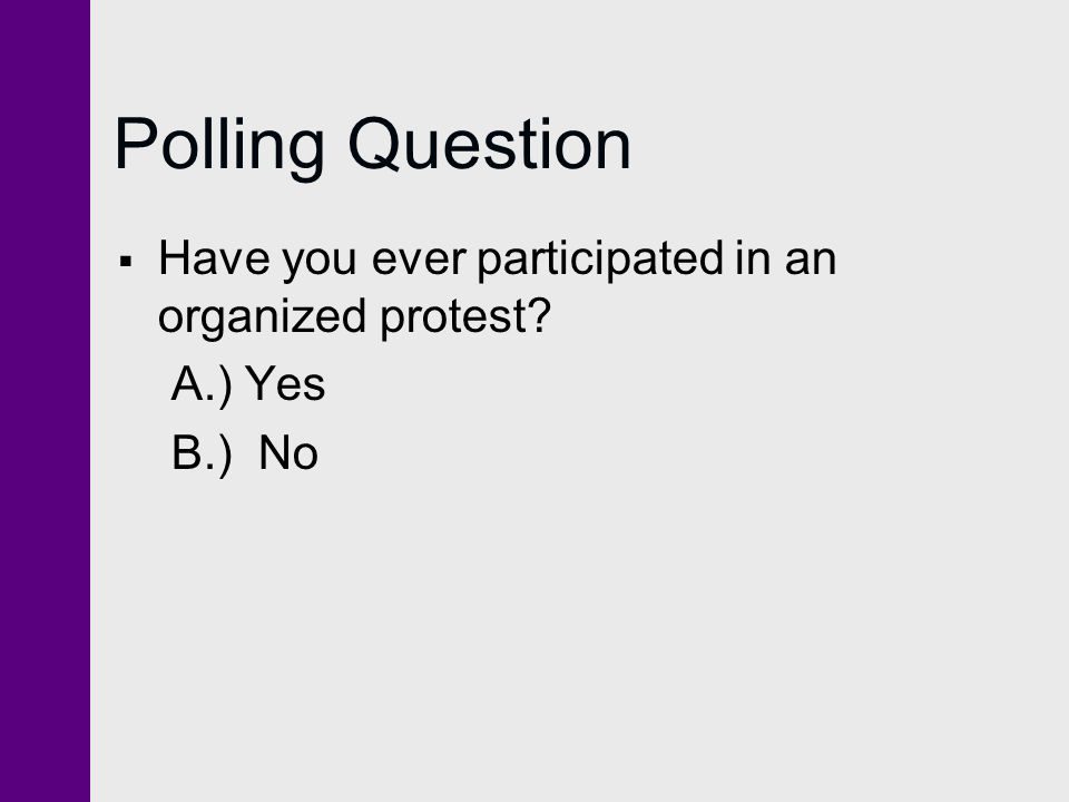 Polling Question Have you ever participated in an organized protest