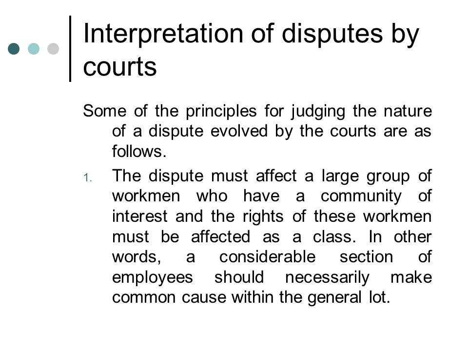 Interpretation of disputes by courts