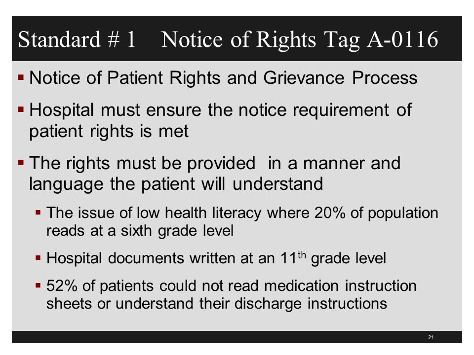 Standard # 1 Notice of Rights Tag A-0116