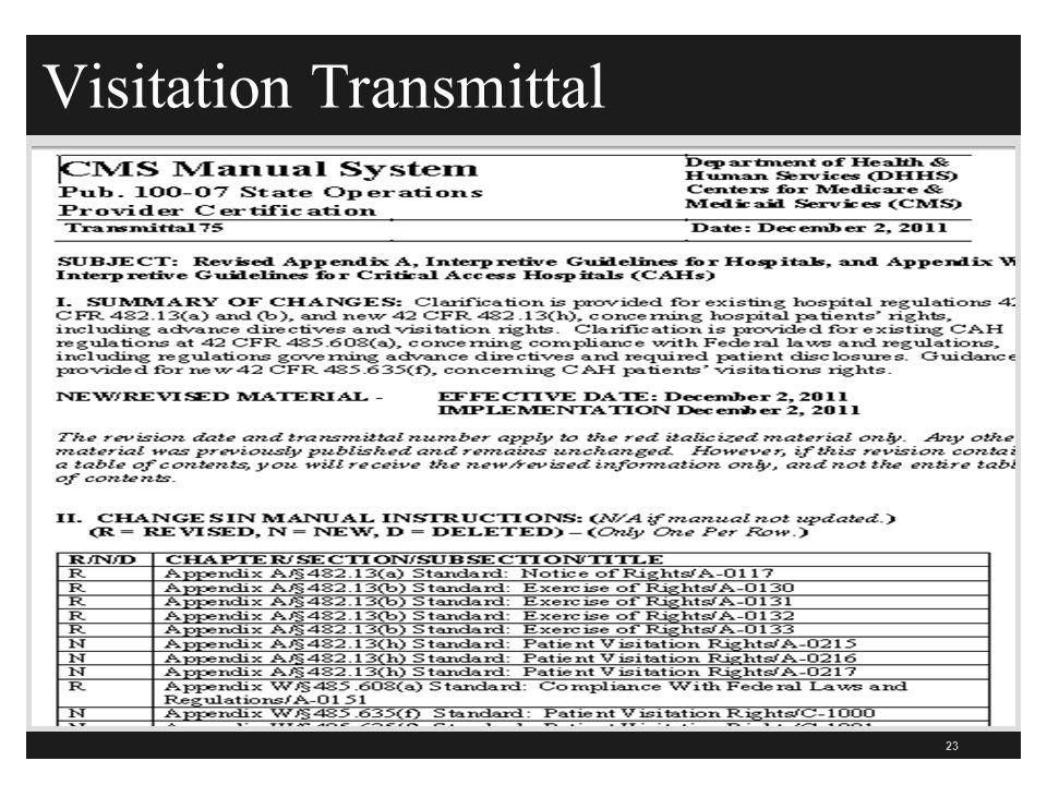 Visitation Transmittal