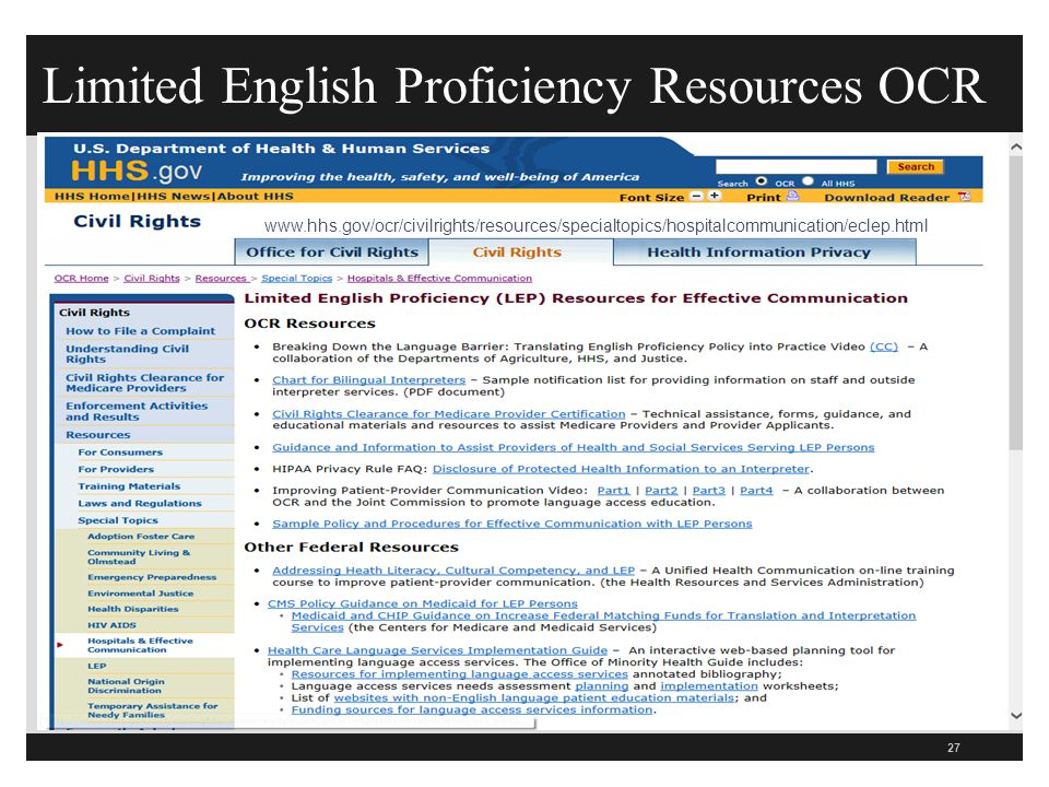 Limited English Proficiency Resources OCR