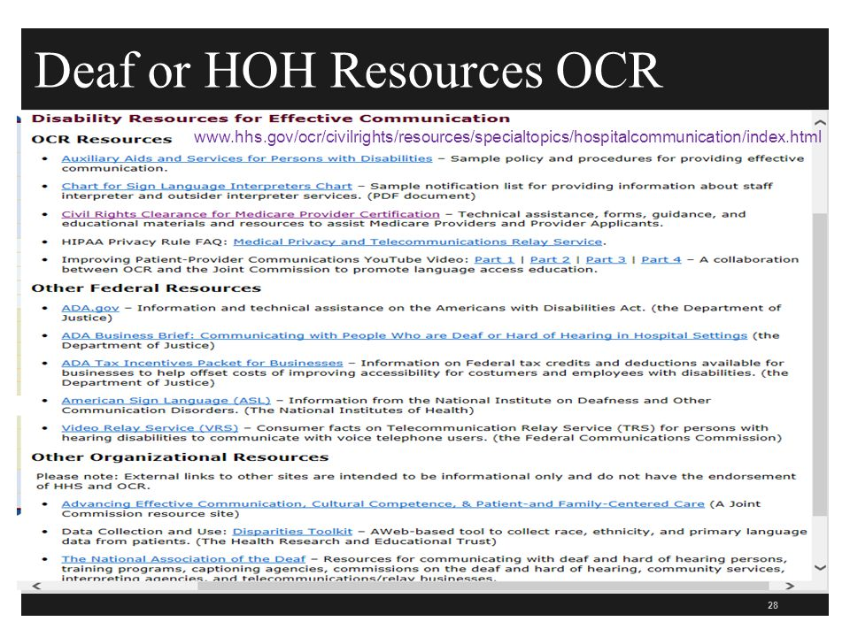Deaf or HOH Resources OCR