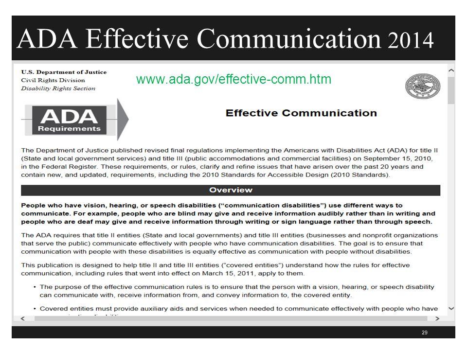 ADA Effective Communication 2014