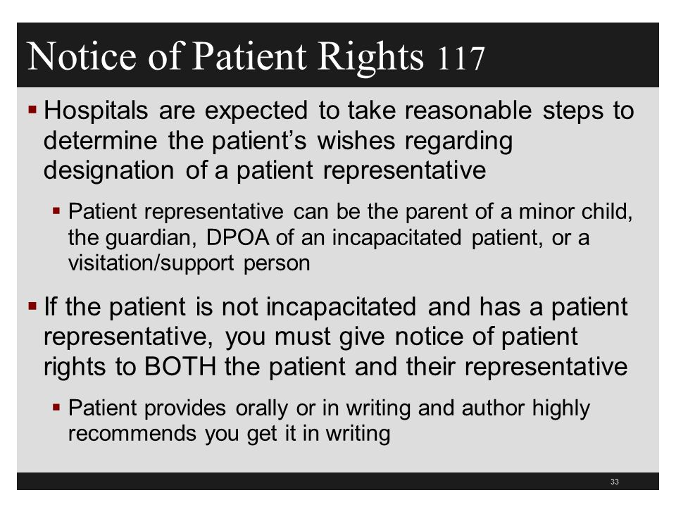 Notice of Patient Rights 117