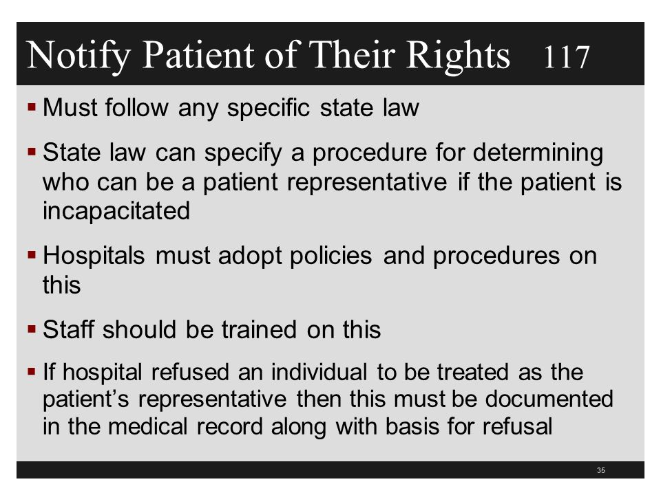 Notify Patient of Their Rights 117