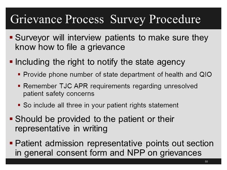 Grievance Process Survey Procedure