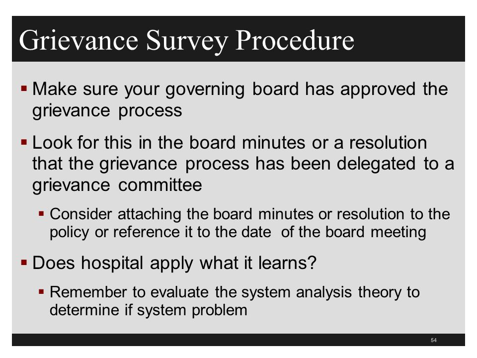 Grievance Survey Procedure