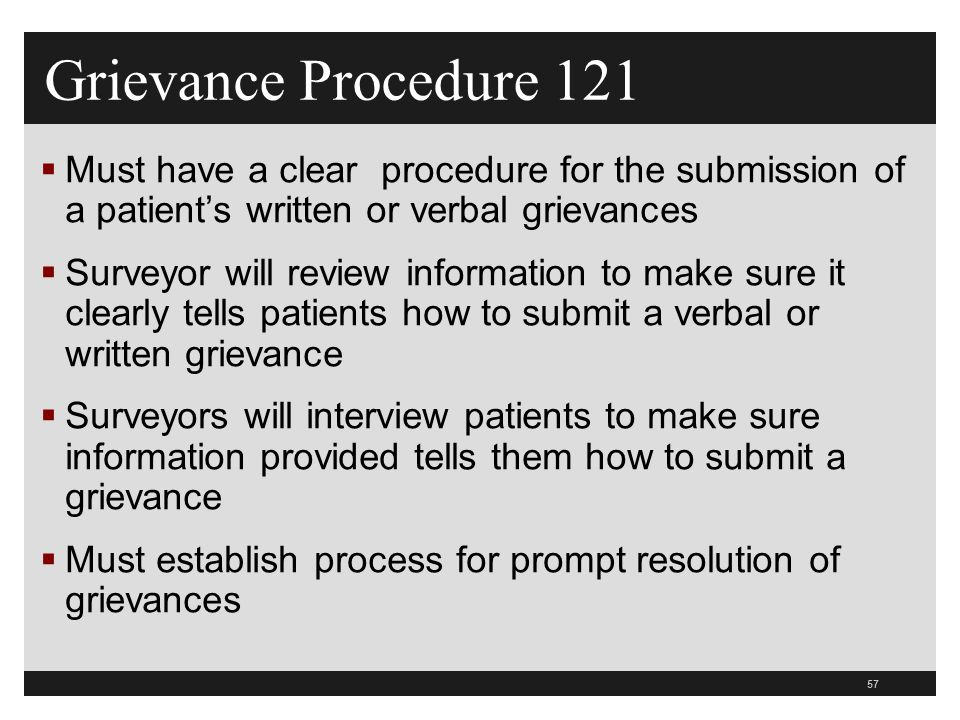 Grievance Procedure 121 Must have a clear procedure for the submission of a patient's written or verbal grievances.