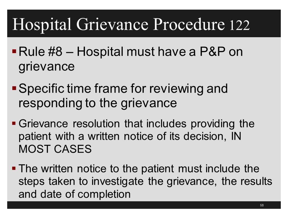 Hospital Grievance Procedure 122