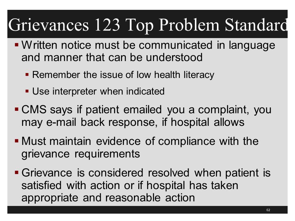Grievances 123 Top Problem Standard
