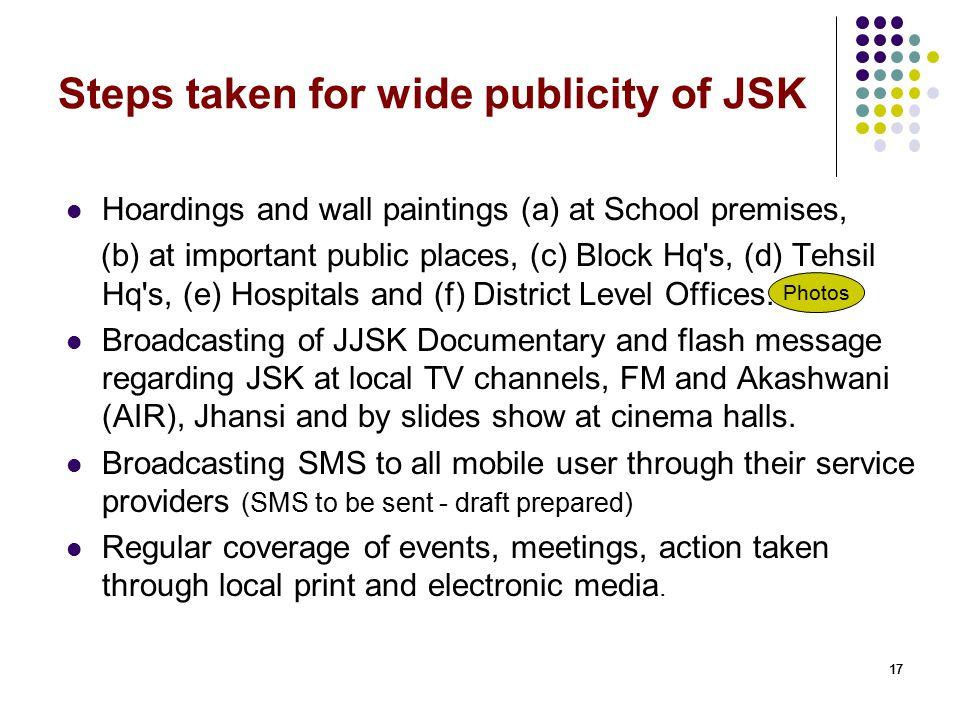 Steps taken for wide publicity of JSK