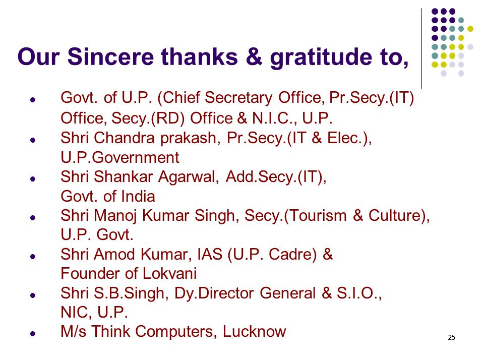 Our Sincere thanks & gratitude to,