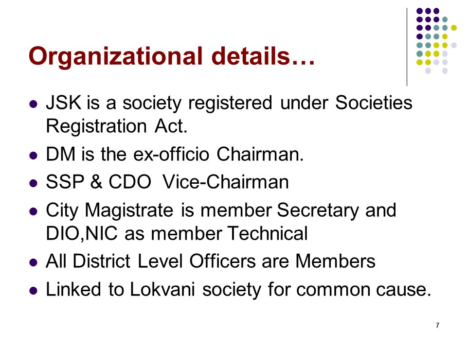 Organizational details…