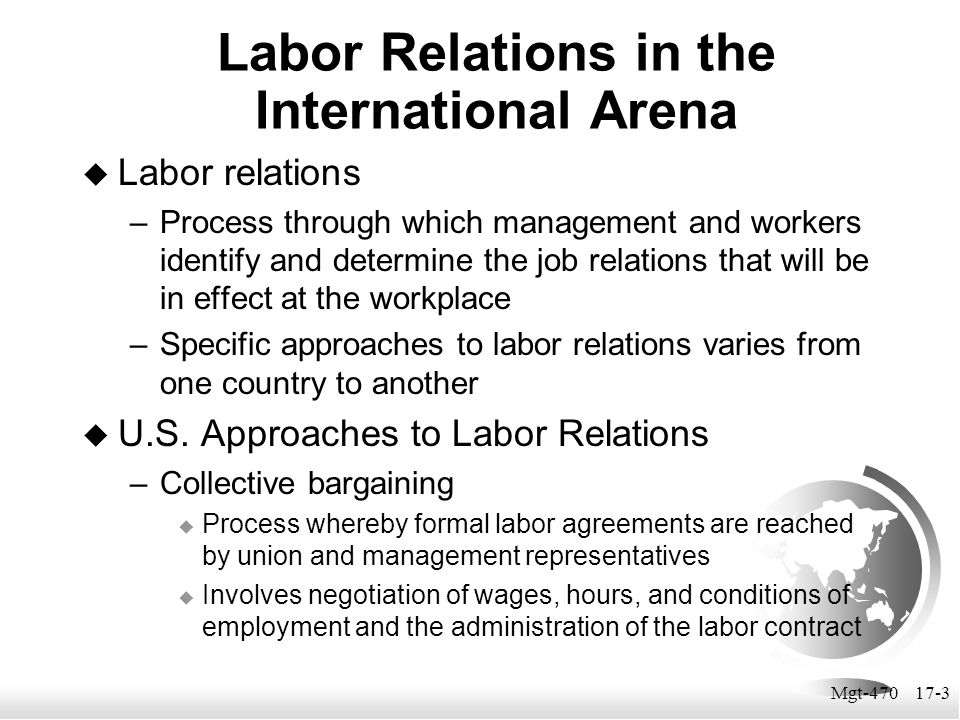 Labor Relations in the International Arena