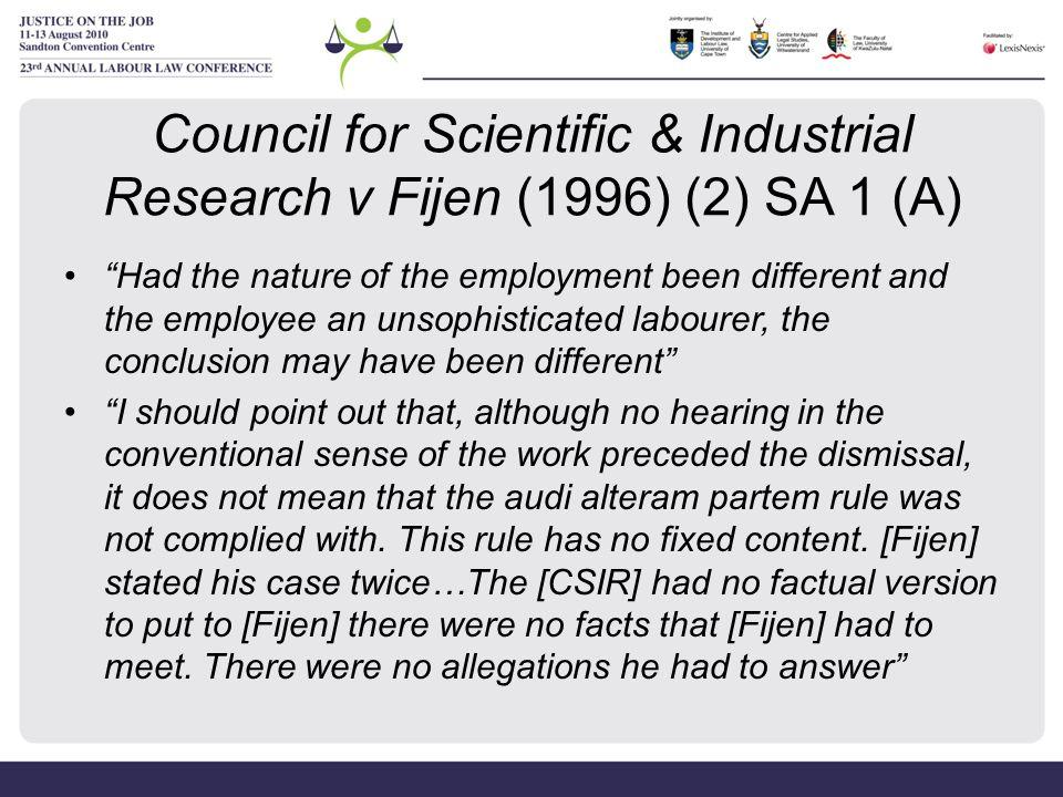 Council for Scientific & Industrial Research v Fijen (1996) (2) SA 1 (A)