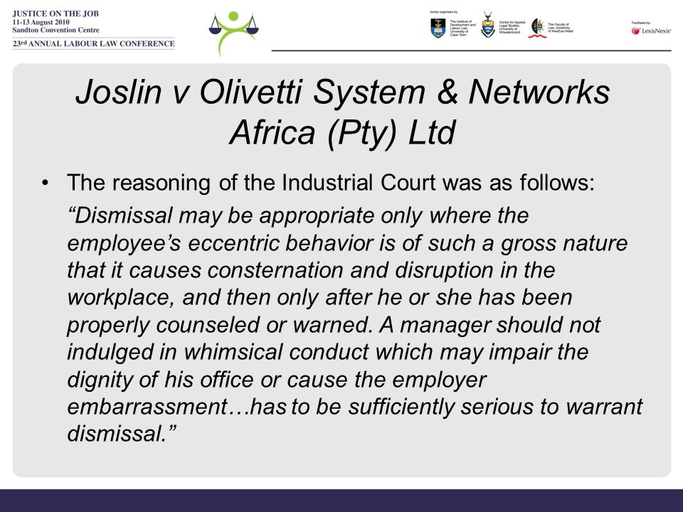 Joslin v Olivetti System & Networks Africa (Pty) Ltd