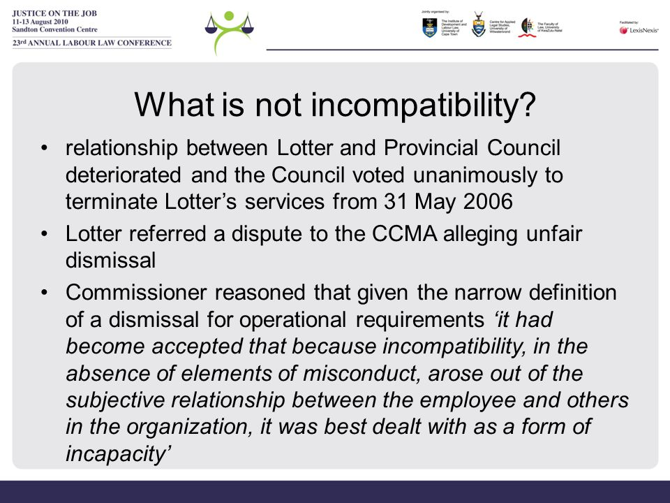What is not incompatibility