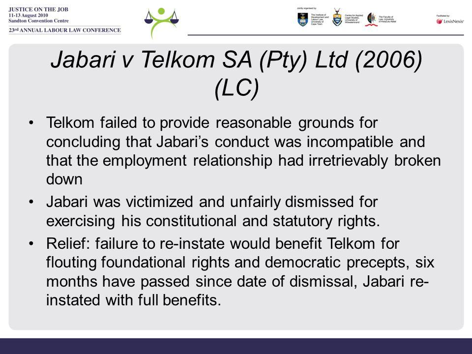 Jabari v Telkom SA (Pty) Ltd (2006) (LC)