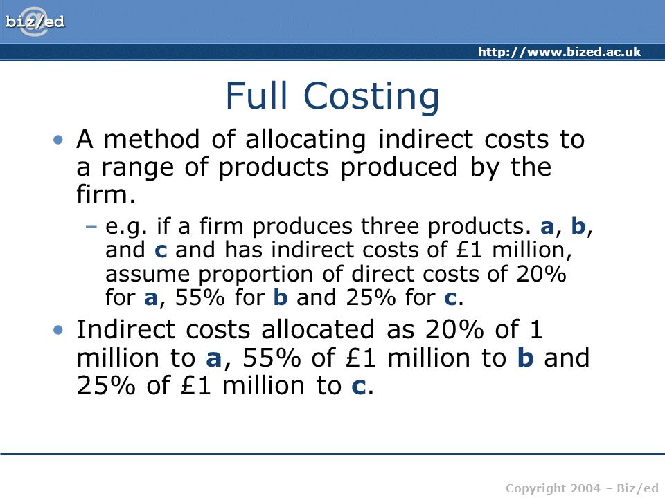 Full CostingA method of allocating indirect costs to a range of products produced by the firm.