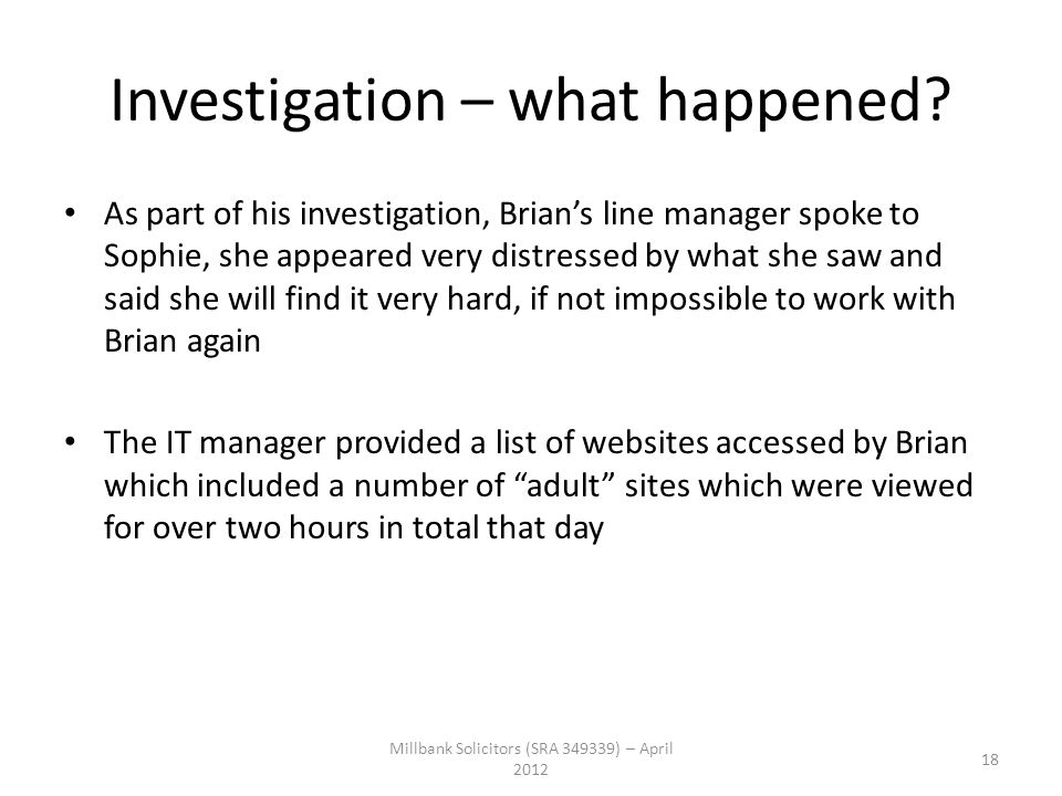 Investigation – what happened