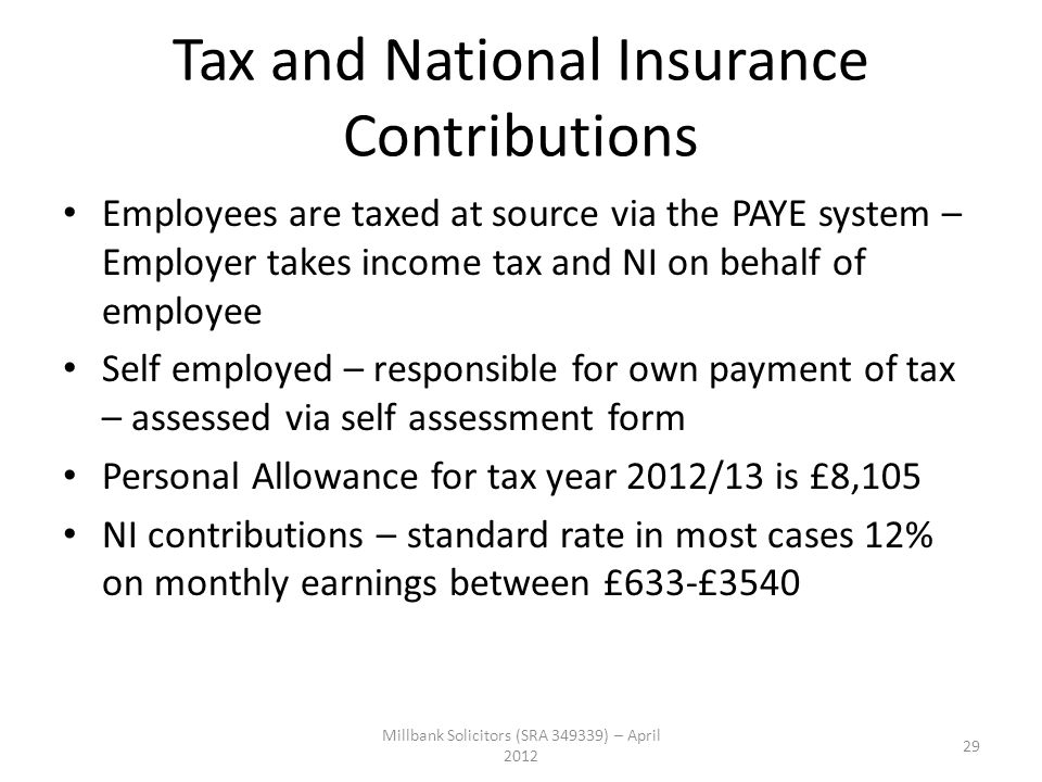 Tax and National Insurance Contributions