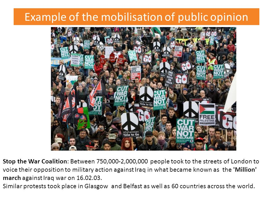 Example of the mobilisation of public opinion