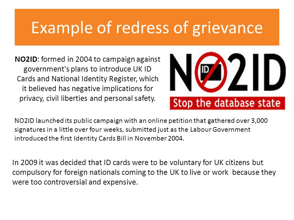 Example of redress of grievance