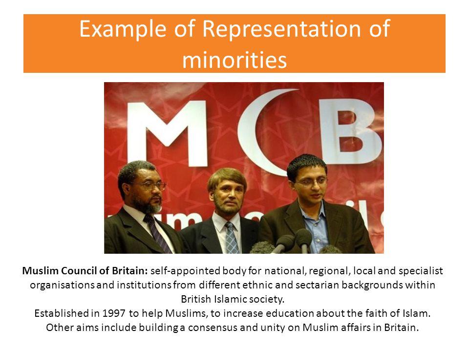 Example of Representation of minorities