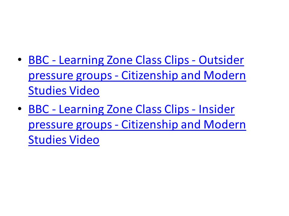 BBC - Learning Zone Class Clips - Outsider pressure groups - Citizenship and Modern Studies Video