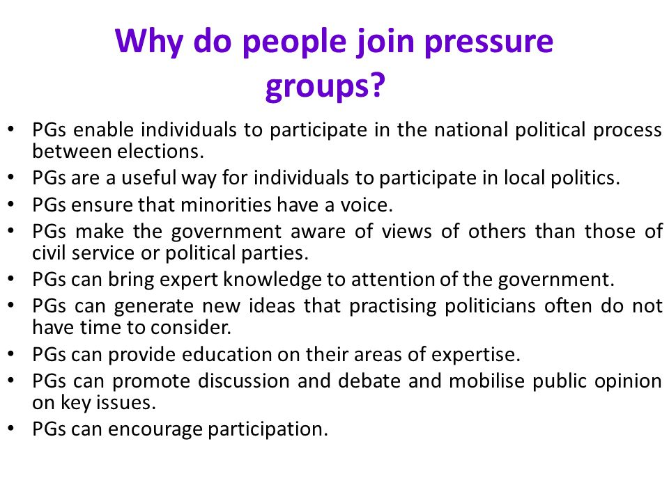 Why do people join pressure groups