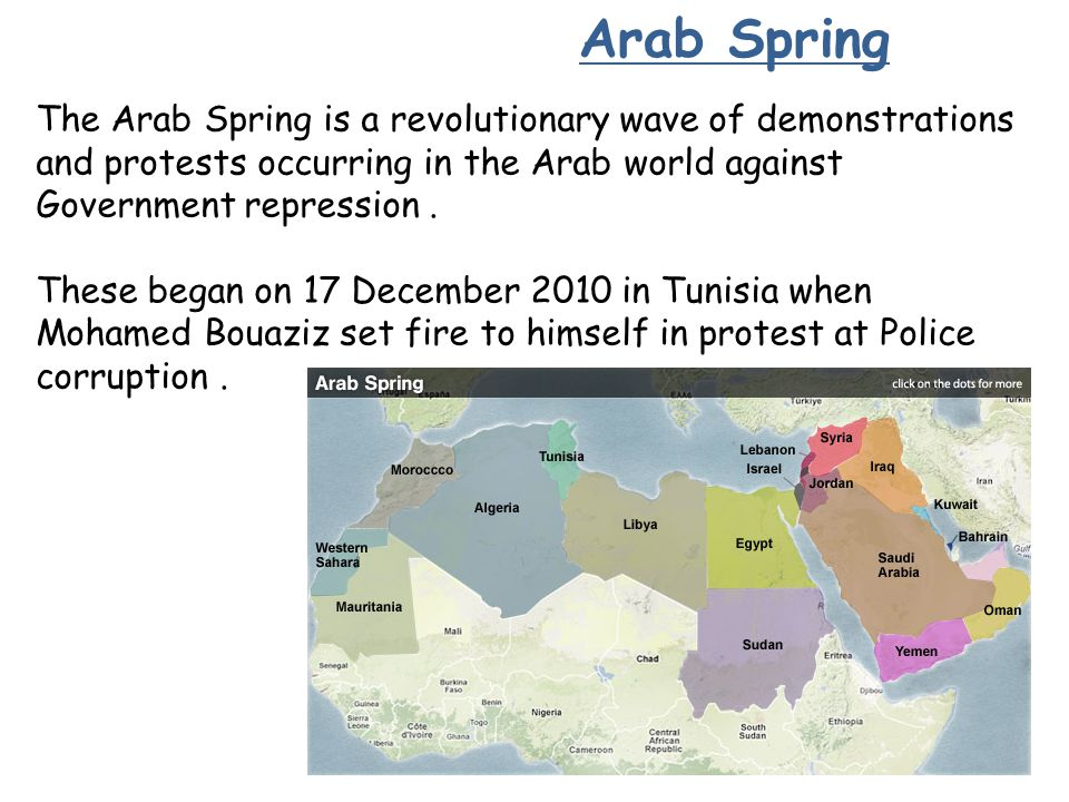 Arab Spring The Arab Spring is a revolutionary wave of demonstrations and protests occurring in the Arab world against Government repression .