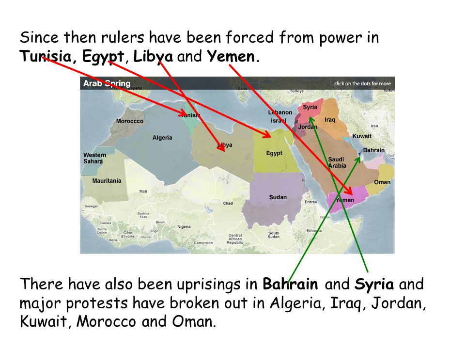 Since then rulers have been forced from power in Tunisia, Egypt, Libya and Yemen.