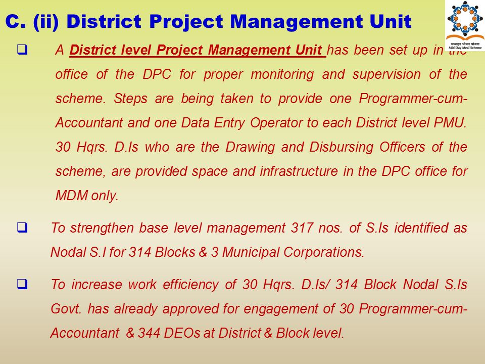 C. (ii) District Project Management Unit